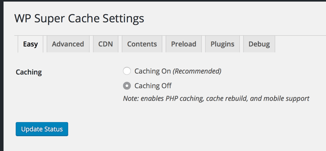 WP Super Cache Default Settings