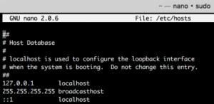 Editing HOSTS file on OS X via Nano